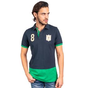 Camisa Tipo Polo Color Marino/verde