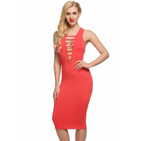 Vestido Color Coral Muy Sexy Tipo Lapiz Pegadito Buen Fin 32c6c094a705
