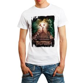 Camiseta Banda Rock Camisa Led Zeppelin T-shirt Branca 0935a7a1df395