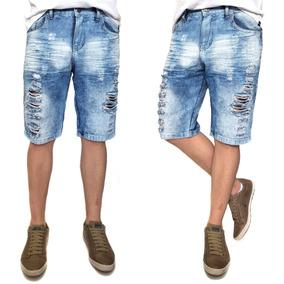 Bermuda Jeans Clara Rasgada Masculina - Bermudas Jeans Masculinas no ... 38a08612f20