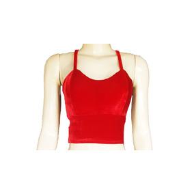 Top Cropped Vermelho Veludo Feminino Blusas Com Bojo Roupas