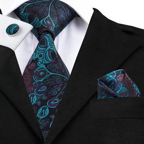 B612 Corbata Pañuelo Mancuernillas - Azul Morado Gargoleado