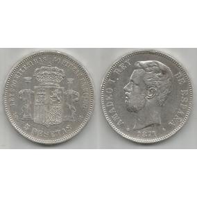 Moeda Espanha 5 Pesetas 1871sd-m Prata .900 Rei Amadeo I Mbc