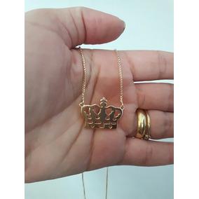 Gargantilha Coroa 15 Microns Ouro 18k Corrente Veneziana