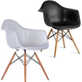 Cadeira Daw Eames Wood Sala De Jantar Poltrona Com Braços
