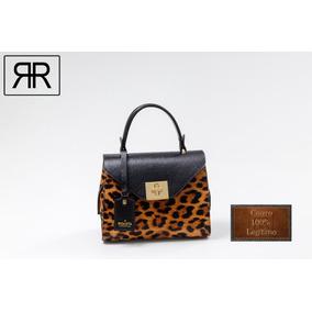 Bag Feminina Lorena Couro Legítimo Animal Print - Riqueta