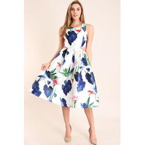 Vestido Azul Floreado Ampon Con Vista En Cintura