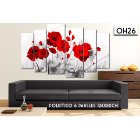 Cuadro 6 Paneles 124x80cm Flores Amapolas Calas Orquideas