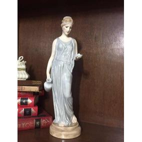 Antigua Figura De Cerámica Fina Pintada A Mano Mujer Griega
