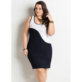 Vestido Bicolor Plus Size Modelo Julia. Afina Silhueta - Vestidos no ... 4bf3b7f177b