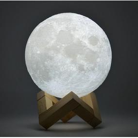 Luminária Lua Cheia Led Recarregavel Com 2 Cores E Suporte