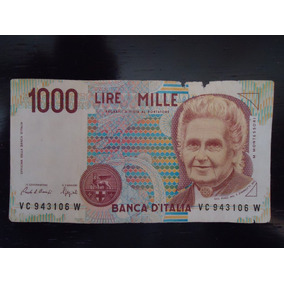 Nota Cédula Estrangeira 1000 Um Mil Lira Itália