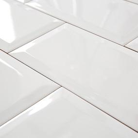 Azulejo Subway 7.5x15 Cm Blanco Brillante Biselado Marbella