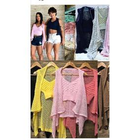 Conjunto Kimono Cardigan Regata E Cropped Top Tricot Verão