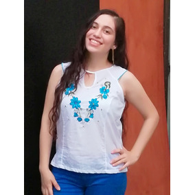 Vestidos Fiesta Blusa Blanca Precioso Bordado Azul