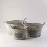 Set De Macetas Ovaladas Oxidadas - Gris, Oxido Këssa Muebles