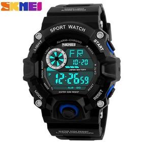 Relógio Estilo G Shock Preto/azul Á Prova D