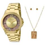 Kit Relógio Condor Feminino Dourado Mosaico Co2036cs/k4m