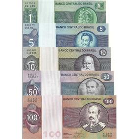 Cédulas Brasil 1/5/10/50/100 Cruzeiros 1974/81 Fe Ver (1)