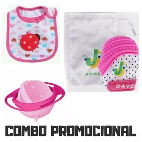 Kit Promoção Luva Mordedor + Babador + Prato Giratório Bebê