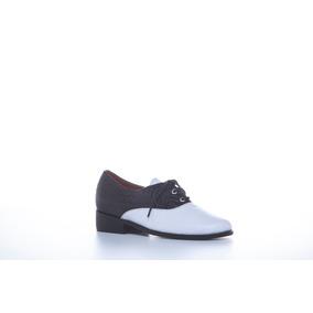d706c49d53b7f Zapato Mujer Oxford Bottier Cuero Blanco X Negro
