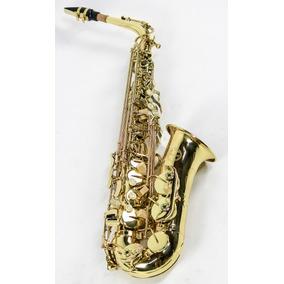 Saxofone Alto Laqueado Eb Strauss Sax Mi Com Case