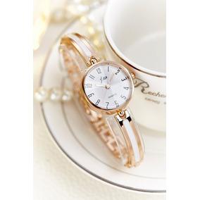 Relógio Feminino Dourado Com Branco