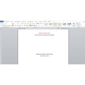 Modelo Relatório De Estágio Técnico Em Segurança Do Trabalho