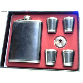 Kit Whisky Jack Couro Cantil 270ml - Funil -4 Copos Vodca