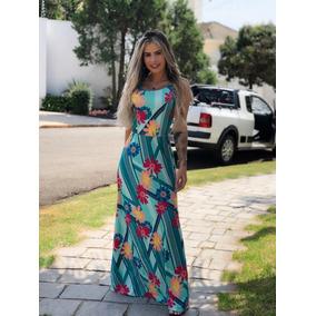 Vestido Feminino Longo Evangélico Listrado Florido Com Bojo