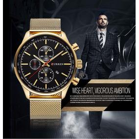 Relógio Masculino Dourado Top De Luxo Curren