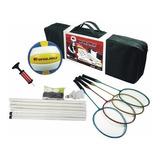 Kit Badminton E Volei - 4 Raquetes + Bola + Peteca + Rede