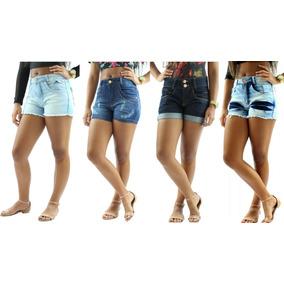 Kit 4 Shorts Jeans Cintura Alta Feminino Anita 2018
