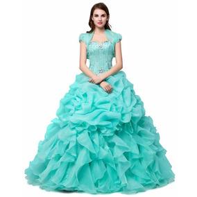 Hermos Vestido De Xv 15 Años Con Bolero Verde Rosa Amarillo