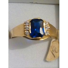 Anillo De Oro En 10k Con Piedra Azul Para Hombre