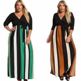 Vestido Tallas Extras Largos Negro Mostaza Verde Rayas Moda