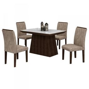 Conj. De Mesa Sevilha 4 Cadeiras Malbec/off White Cel Móveis
