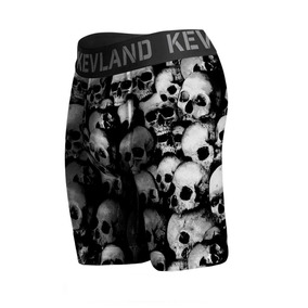Cueca Boxer Long Leg Kevland Black And White Skulls