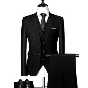 Terno + Colete Masculino Slim 2 Botões Paletó+calça+colete