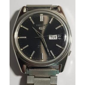 44630822073 Relógio De Pulso Seiko 5 6119 Antigo Mostrador Preto Lindo