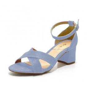 Sandália Trançada Salto Médio Azul