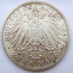 Moeda Império Alemão - Bavaria - 2 Mark 1899