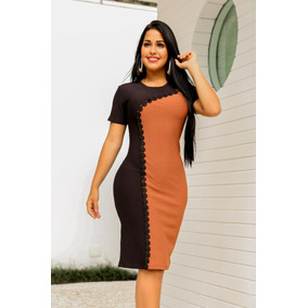 5811d7889 Vestido Tubinho - Vestidos Casuais Femininas Laranja escuro no ...