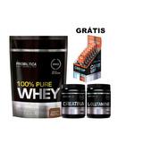 Kit 100% Pure Whey + Glutamine + Creatina + Grátis Carb Up