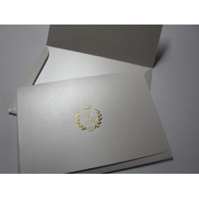 Convite De Casamento Modelo Imperial Impressão Hot Stamping Ar