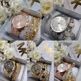 Kit Barato 5 Relógio Feminino + Pulseira + Caixa Branca Top