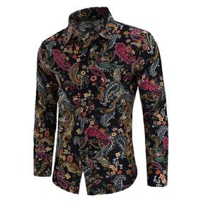 Shirt Camisa Casual Para Hombres Con Estampado De Paisley