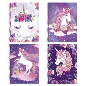 Kit 4 Cadernos Espiral Unicornio Foroni 96 Folhas 1 Matéria