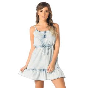Vestido Jeans Feminino Curto Com Babados - Dz12081