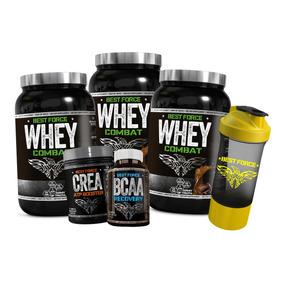 3x Whey Protein Combat + Bcaa + Creatina + Brinde Best Force